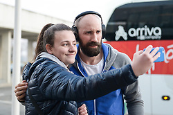 Vid Kavticnik of Slovenia with fan before handball match between National teams of Slovenia and Spain on Day 6 in Main Round of Men's EHF EURO 2018, on January 23, 2018 in Arena Varazdin, Varazdin, Croatia. Photo by Mario Horvat / Sportida