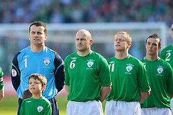 DUBLIN, REPUBLIC OF IRELAND - Saturday, March 24, 2007: Republic of Ireland's goalkeeper Shay Given, Lee Carsley, Damien Duff and Stephen Ireland line-up before the UEFA European Championships 2008 Group D qualifying match against Wales at Croke Park. (Pic by David Rawcliffe/Propaganda)