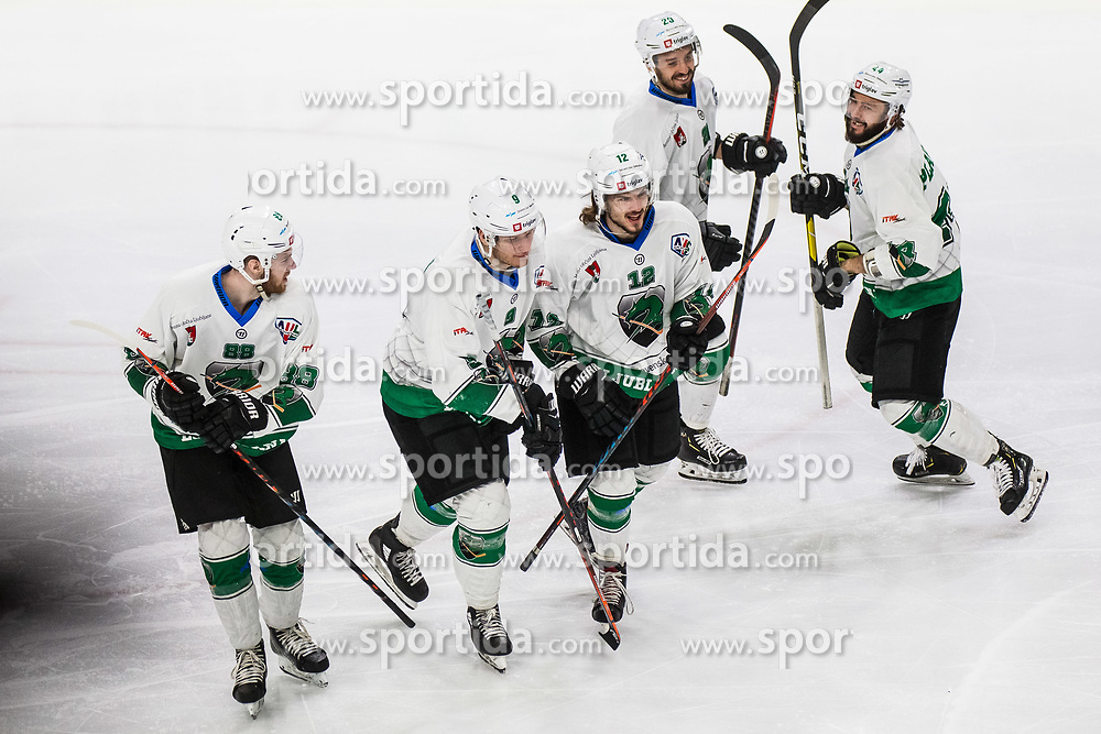 Players of HK SZ Olimpija after scoring goal during Ice Hockey match between HK SZ Olimpija and HC Pustertal Wolfe in 6th Final game of Alps Hockey League 2018/19, on April 19th, 2019, in Hala Tivoli, Ljubljana, Slovenia. Photo by Grega Valancic