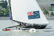 Emirates Team New Zealand. Day four of the Extreme Sailing Series regatta being sailed in Singapore. 23/2/2014