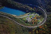 Aerial, Horseshoe Curve National Historic Landmark, NE Railroad, Blair County, Altoona, PA