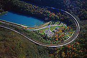 Aerial, Horseshoe Curve National Historic Landmark, NE Railroad, Blair County, Altoona, PA