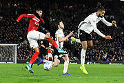 Ashley Fletcher (11) of Middlesbrough shoots at goal but it is blocked by Michael Hector (3) of Fulham during the EFL Sky Bet Championship match between Fulham and Middlesbrough at Craven Cottage, London, England on 17 January 2020.