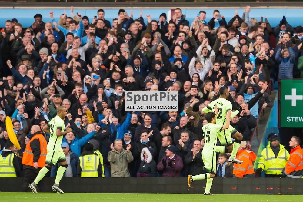 Manchester City forward Kelechi Iheanacho (72) celebrates scoring from the penalty spot to give his side a 2-0 lead in the FA cup 4th Round game between Aston Villa and Manchester City<br /> <br /> <br /> <br /> <br /> (c) John Baguley | SportPix.org.uk