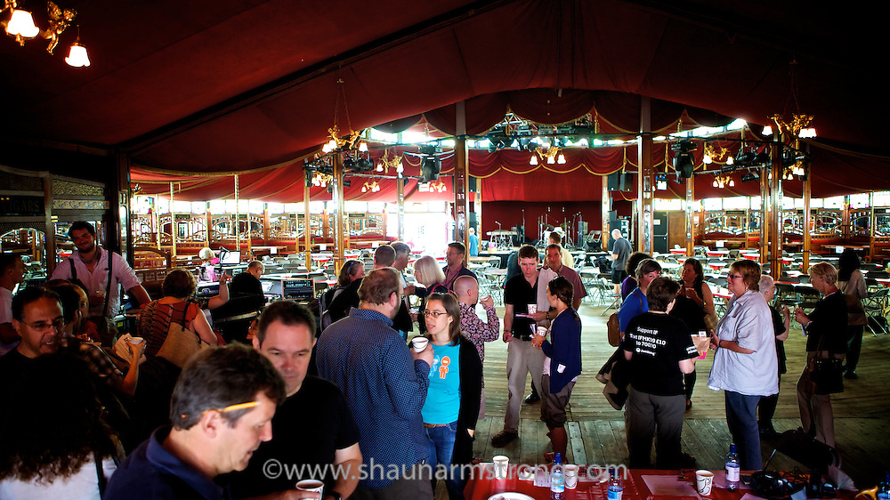 """Festival visitors get an opportunity to """"speed date"""" a variety of specialists and interesting characters in the """"Cabaret of Ideas"""". held in the Spiegeltent at IF:Milton Keynes International Festival."""