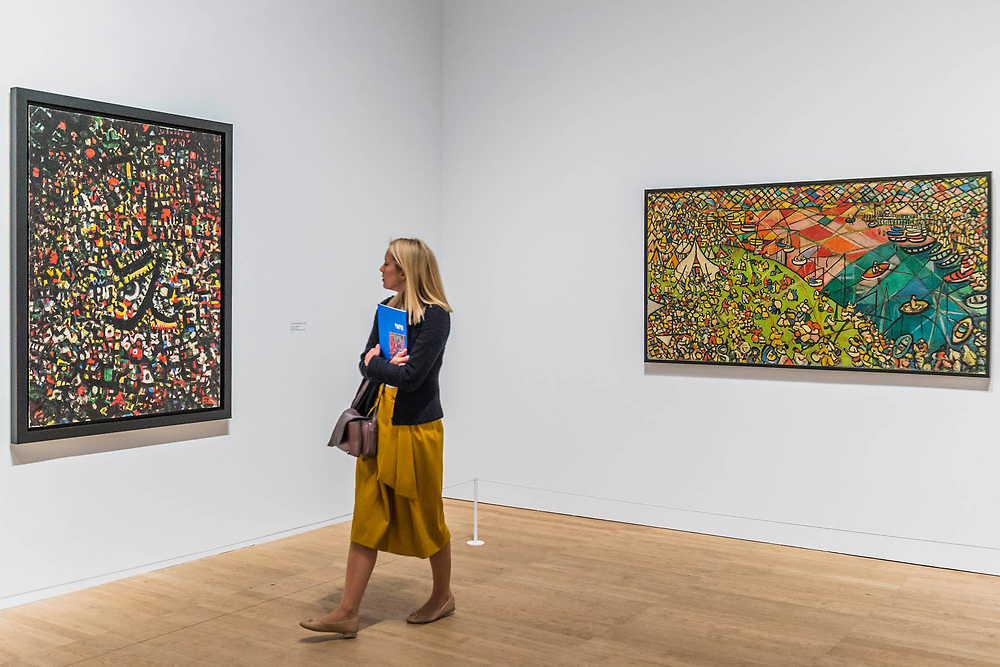 Ubu Bird, 1952, and Loch Lomond, 1948 - Princess Fahrelnissa Zeid: the UK's first retrospective of a pioneering artist best known for her large-scale colourful canvases, fusing European approaches to abstract art with Byzantine, Islamic and Persian influences. The exhibition is at Tate Modern from 13 June – 8 October 2017.