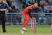 Glenn Maxwell bowling during the Vitality T20 Blast North Group match between Lancashire Lightning and Leicestershire Foxes at the Emirates, Old Trafford, Manchester, United Kingdom on 30 August 2019.