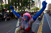 SAN FRANCISCO, CA - JUNE 24 : Jewlia Eisenbeerg rides on the back of a motorcycle in the 37th annual LBGT Pride Parade on June 24, 2007 in San Francisco, California. Hundreds of thousands of people lined the streets of San Francisco to watch and take part in the parade.  (Photograph by David Paul Morris)