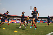 East Bengal FC players during practice session before the start of the 1st semi final match of the Hero Super Cup between East Bengal and FC Goa held at the Kalinga Stadium, Bhubaneswar, India on the 16th April 2018<br /> <br /> Photo by: Deepak Malik / SPORTZPICS