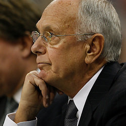 Apr 07, 2010; New Orleans, LA, USA; Charlotte Bobcats head coach Larry Brown reacts during the second half against the New Orleans Hornets at the New Orleans Arena. The Bobcats defeated the Hornets 104-103. Mandatory Credit: Derick E. Hingle-US PRESSWIRE