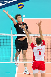 10.09.2011, O2 Arena, Prag, CZE, Europameisterschaft Volleyball Maenner, Vorrunde D, Deutschland (GER) vs Polen (POL), im Bild Jochen Schöps/Schoeps (#10 GER / Odintsovo RUS) - Bartosz Kurek (#6 POL) // during the 2011 CEV European Championship, Germany vs Poland at O2 Arena, Prague, 2011-09-10. EXPA Pictures © 2011, PhotoCredit: EXPA/ nph/  Kurth       ****** out of GER / CRO  / BEL ******
