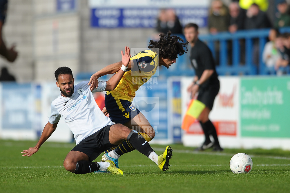 TELFORD COPYRIGHT MIKE SHERIDAN Brendon Daniels of Telford battles for the ball with Aaram Soleman during the Vanarama National League Conference North fixture between AFC Telford United and Guiseley on Saturday, October 19, 2019.<br /> <br /> Picture credit: Mike Sheridan/Ultrapress<br /> <br /> MS201920-026