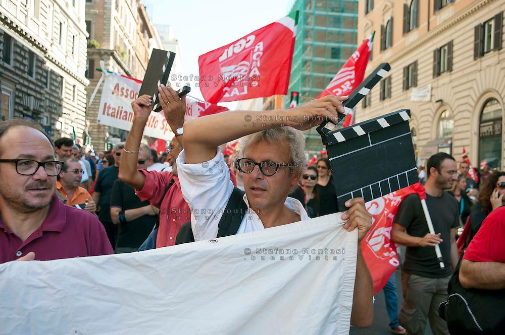 Roma 6 Settembre 2011.Manifestazione del sindacato CGIL contro la manovra del governo Berlusconi. I lavoratori dello spettacolo.
