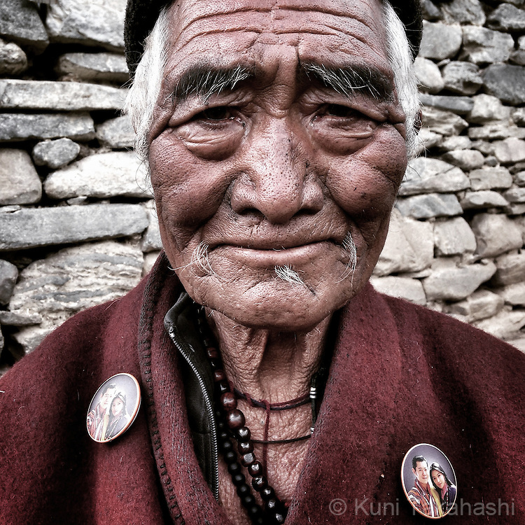 Elderly man at Merak village in eastern Bhutan on Sep 10, 2015.<br /> (Photo by Kuni Takahashi)