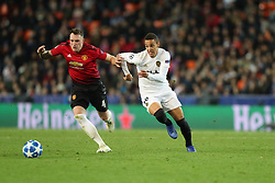 December 12, 2018 - Valencia, Spain - December 12, 2018 - Valencia, Spain - .Rodrigo of Valencia duels for the ball with Phil Jones of Manchester United during the UEFA Champions League, Group H football match between Valencia CF and Manchester United on December 12, 2018 at Mestalla stadium in Valencia, Spain (Credit Image: © Manuel Blondeau via ZUMA Wire)