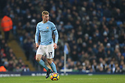 Kenin De Bruyne during the Premier League match between Manchester City and Newcastle United at the Etihad Stadium, Manchester, England on 20 January 2018. Photo by George Franks.