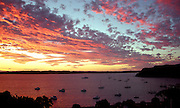 sunset over bay at Russell, Bay of Islands