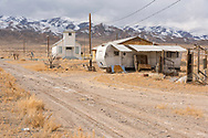 USA, Nevada, Luning, Pax Americana, Church and trailer