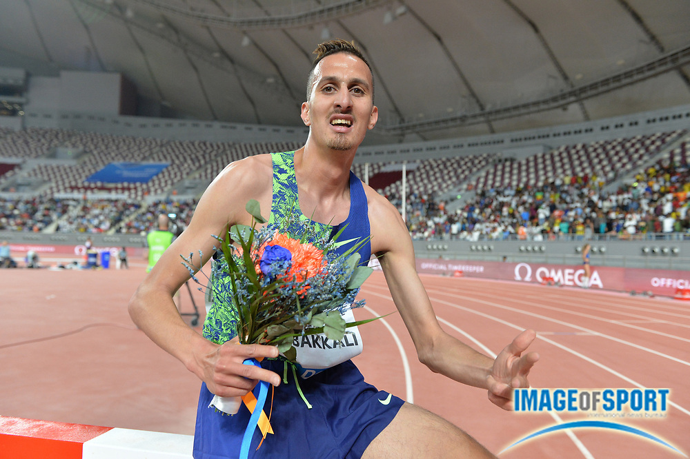 Soufiane El Bakkali (MAR) poses after winning the steeplechase in 8:07.22 during the IAAF Doha Diamond League 2019 at Khalifa International Stadium, Friday, May 3, 2019, in Doha, Qatar