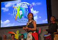 Young South African singers and musicians from Khayelitsha in Cape Town, South Africa, perform at the World&rsquo;s Children&rsquo;s Prize Ceremony in Mariefred, Sweden on April 26, 2017. Simbongile Sam in front.<br />