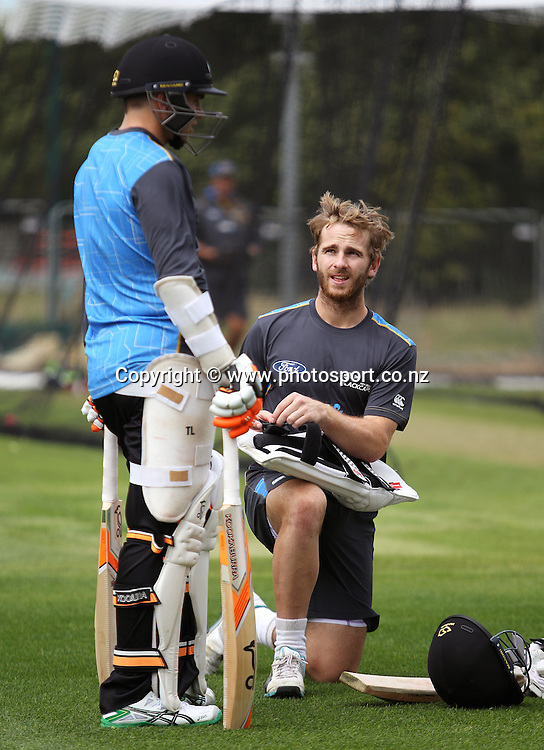 Kane Williamson talks to Tom Latham during a Black Caps nets session at Hagley Oval, Christchurch. 24 December 2014 Photo: Joseph Johnson / www.photosport.co.nz