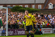 Bradley Fewster blows a kiss to the Middlesbrough fans during the Friendly match between York City and Middlesbrough at Bootham Crescent, York, England on 11 July 2015. Photo by Simon Davies.