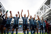 STOCKHOLM, SWEDEN - JULY 22: Players of Djurgardens IF celebrates after the victory during the Allsvenskan match between Djurgardens IF and BK Hacken at Tele2 Arena on July 22, 2018 in Stockholm, Sweden. Photo by Nils Petter Nilsson/Ombrello ***BETALBILD***