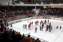 28.12.2013, OlympiaWorld Arena, Innsbruck, AUT, EBEL, HC TWK Innsbruck vs HC Orli Znojmo, 60th Game Day, in picture Celebration of players HC TWK Innsbruck during the Erste Bank Icehockey League 60th Game Day match between HC TWK Innsbruck and HC Orli Znojmo at the OlympiaWorld Arena, Innsbruck, Austria on 2013/12/28. (Photo By Matic Klansek Velej / Sportida)