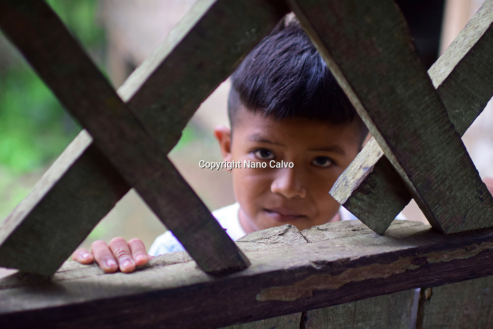 Portrait of Dereck, Bribri young boy. <br /> <br /> A day with the Bribri, indigenous people in Lim&oacute;n Province of Costa Rica
