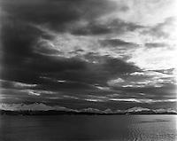 Molde 20120409. Dramatiske skyer over Romsdalsalpene. Utsikt fra Molde.<br /> Foto: Svein Ove Ekornesv&aring;g
