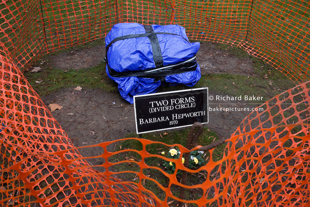 Remains of the stolen Barbara Hepworth sculpture Two Forms (1969) stolen from Dulwich Park where it was installed for 40 years. Dame Barbara Hepworth DBE (10 January 1903 – 20 May 1975) was an English sculptor. Her work exemplifies Modernism, and with such contemporaries as Ivon Hitchens, Henry Moore, Ben Nicholson, Naum Gabo she helped to develop modern art (sculpture in particular) in Britain.
