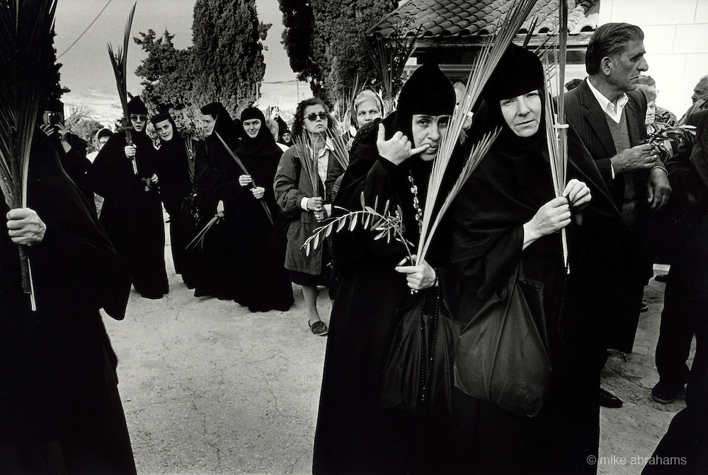 Pilgrims at the Greek Orthodox Monastery at Bethany. Palm Sunday. Israel.