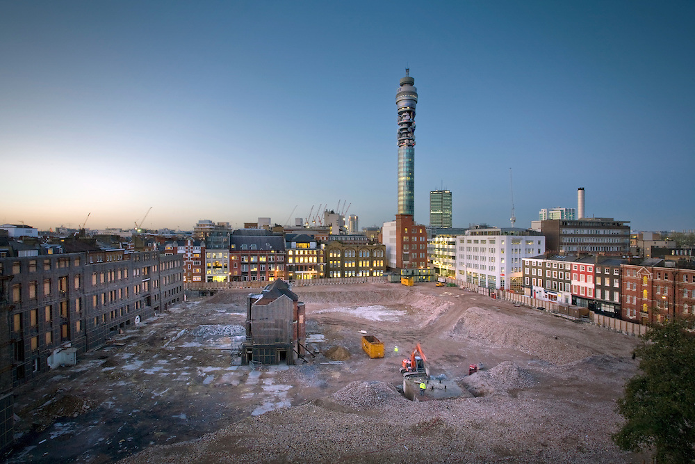 Noho, formerly Middlesex Hospital, London with BT Tower in Background. Andy Spain Architectural Photography