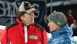 27.01.2015, Planai, Schladming, AUT, FIS Weltcup Ski Alpin, Nightrace, Slalom, Herren, 2. Durchgang, im Bild Franz Voves, Landeshauptmann Steiermark, Gerald Klug, Verteidigungsminister Oesterreich // during 2nd run of mens slalom of the Schladming FIS Ski Alpine World Cup at the Planai course in Schladming, Austria on 2015/01/27. EXPA Pictures © 2015, PhotoCredit: EXPA/ Martin Huber