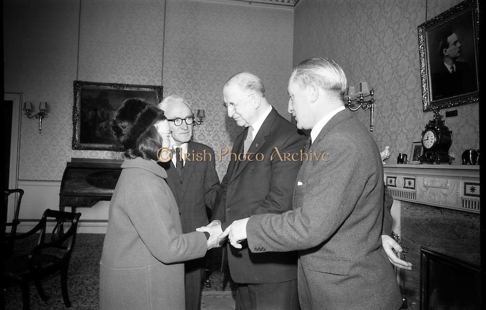 16/12/1965<br /> 12/16/1965<br /> 16 December 1965 <br /> <br /> Mr. Sean Flanagan T.D. Recived by President Éamon de Valera