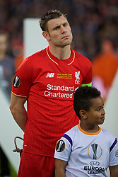 BASEL, SWITZERLAND - Wednesday, May 18, 2016: Liverpool's James Milner lines-up before the UEFA Europa League Final against Sevilla at St. Jakob-Park. (Pic by David Rawcliffe/Propaganda)