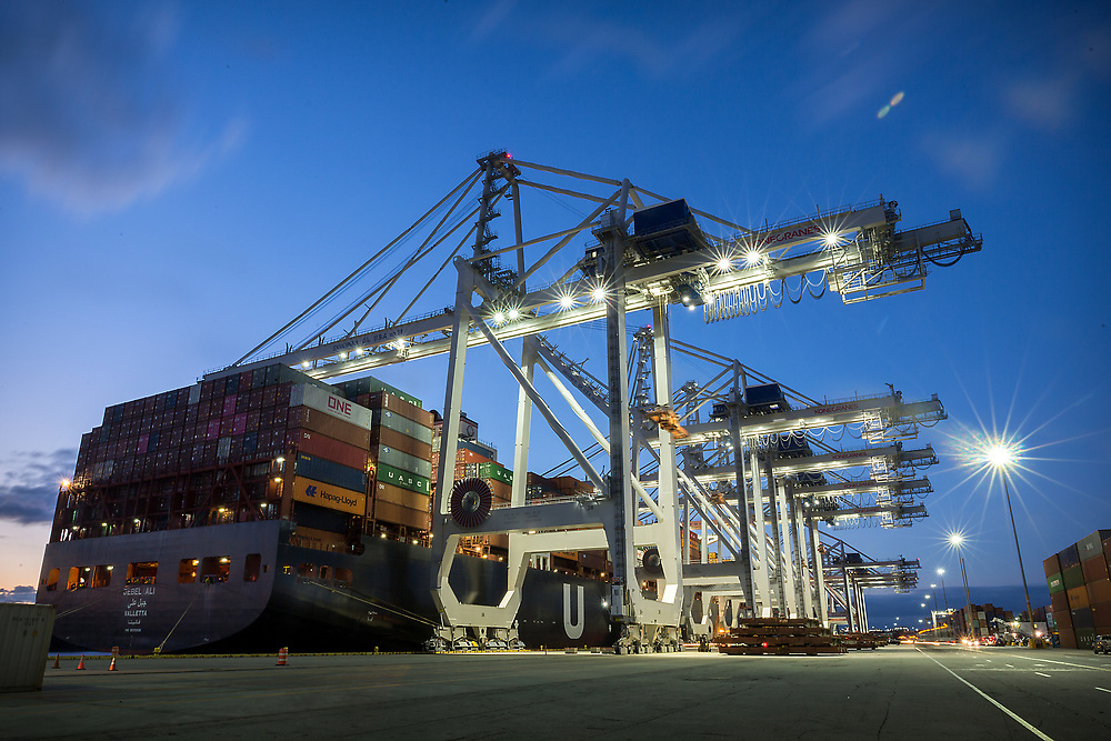 The first of Georgia Ports Authority's four new Neo-Panamax cranes began working Wednesday morning at Garden City Terminal. A Hapag Lloyd vessel with a capacity of 13,300 twenty-foot equivalent container units was the first vessel served by the new crane. (Georgia Ports Authority/Stephen B. Morton)