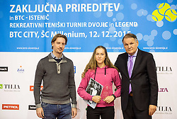 Miha Rakar, Kaja Juvan and Marko Umberger at Istenic doubles Tournament and Slovenian Tennis personality of the year 2015 annual awards presented by Slovene Tennis Association TZS, on December 12, 2015 in Millenium Centre, BTC, Ljubljana, Slovenia. Photo by Vid Ponikvar / Sportida