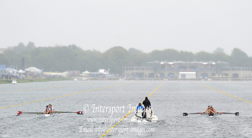 Eton. Great Britain.  A heat of the JM4+ in progress on the  Eton Rowing Centre Course Left USA JM4+ and Right NZL JM4+.  2011 FISA Junior  World Rowing Championships. Dorney Lake, Nr Windsor. Thursday, 04/08/2011  [Mandatory credit: Peter Spurrier Intersport Images]