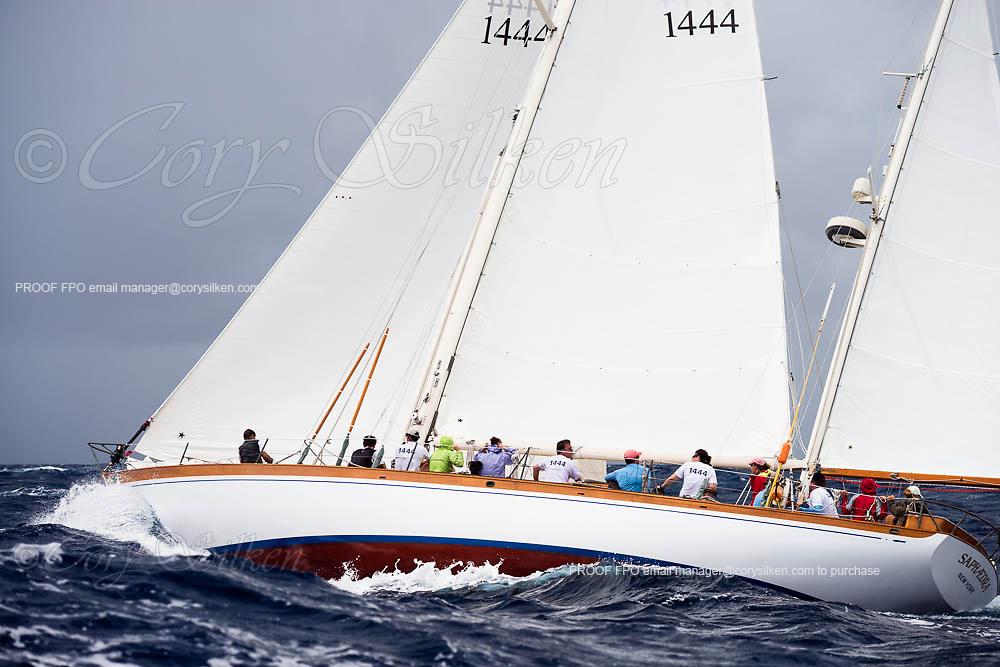 Saphaedra sailing in the Antigua Classic Yacht Regatta, Butterfly Race.