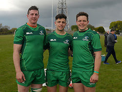Ballinrobe&rsquo;s Robert Holian, Daniel Keane and Tom Staunton after representing Connacht junior&rsquo;s against Leinster at the Green Ballinrobe on saturday last.<br /> Pic Conor McKeown