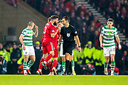 Graeme Shinnie (#3) of Aberdeen protests a foul given against him during the Betfred Cup Final between Celtic and Aberdeen at Celtic Park, Glasgow, Scotland on 2 December 2018.