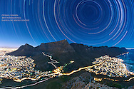 Star Trails Above Table Mountain in Cape Town, South Africa.