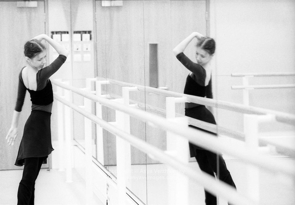 Alina Cojocaru rehearsing for the role of Nikiya in the Royal Ballet's production of La Bayadere.