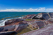 Rocky shoreline on the  island of Isle-Verte in the St. Lawrence River<br />L'Isle-Verte<br />Quebec<br />Canada