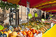 Rennes, FRANCE. General Views GV's. Rennes weekly regional market. Brittany,<br /> Vegetable's, Fruit, Flowers, Fish, Game, Meat, Cheese, local wine and cider, sold from stalls in the open and covered market  <br /> <br /> 09:10:29  Saturday  26/04/2014 <br /> <br />  [Mandatory Credit: Peter Spurrier/Intersport<br /> Images]