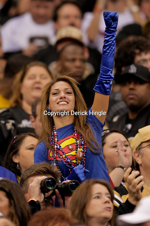 2009 October 18: Reby Sky of New York cheers from the stands during the first half of a regular season game between the New Orleans Saints and the New York Giants at the Louisiana Superdome in New Orleans, Louisiana.
