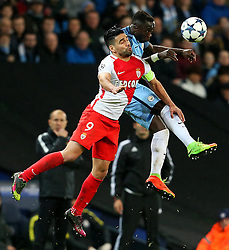 Radamel Falcao Garcia of Monaco challenges Bacary Sagna of Manchester City - Mandatory by-line: Matt McNulty/JMP - 21/02/2017 - FOOTBALL - Etihad Stadium - Manchester, England - Manchester City v AS Monaco - UEFA Champions League - Round of 16 First Leg