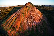France, Languedoc Roussillon, Gard, Cevennes,  Alès, le Crassier de Rochebelle, ancien terril de la mine de Rochebelle, vue aérienne