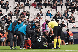 Behrang Safari of Malmo FF left the match injured during the UEFA Europa League group I match between between Besiktas AS and Malmo FF at the Besiktas Park on December 13, 2018 in Istanbul, Turkey